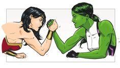 Wonder Woman vs. She-Hulk by Adam Limbert ®