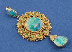 Antique 18kt Gold, Black Opal and Emerald Pendant