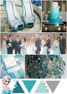 Teal, Tiffany Blue and Aqua Elsa Themed Wedding - Frozen Color Scheme - Disney Wedding - A Hue For Two | www.ahuefortwo.com