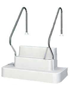 The Step Inground Drop In Two Rails available with fast shipping online from Pool Supplies Canada. Pool Steps Inground, Stainless Steel Handrail, Pool Lounge, Pool Supplies, Plunge Pool, Swimming Pools, Sink, Canada, Drop