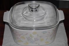 "Vintage 3 Quart Corning Ware Casserole Dish ""Pastel Floral Bouquet"" Pattern, with PYREX Lid, Pink Yellow & Blue Flowers Pyrex Lids, Pastel Floral, Floral Bouquets, The Dish, Casserole Dishes, Pink Yellow, Blue Flowers, Clear Glass, Cottage"