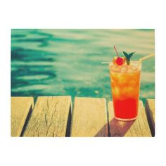 Retro cocktail sunset pool bar poster - decor gifts diy home & living cyo giftidea Wood Wall Decor, Wood Wall Art, Bar Card, Wood Company, Pool Bar, Thing 1, Artwork Pictures, Retro Ideas, Wood Canvas