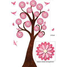 Garden Tree Wall Sticker with Matching Birds and Butterflies $63.00