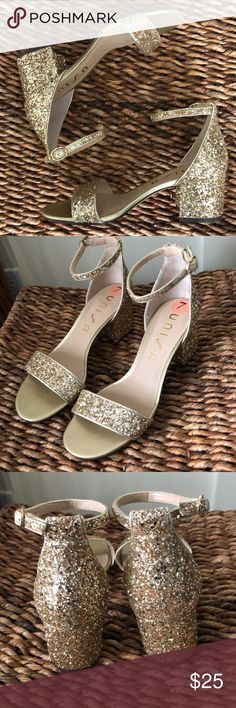 """1842289e1f9 Unisa gold glitter chunky heel sandal w anklestrap Gorgeous chunky 2"""" heels  with ankle"""