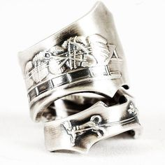Sterling Silver Spoon Ring Vintage Alaska Dogs with by Spoonier, $75.00