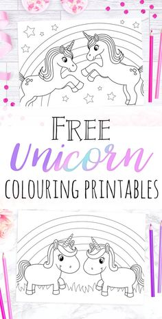 Download these free unicorn colouring printable pages and the kids can start colouring right away! They'd be perfect for unicorn parties or long journeys to keep the children busy.