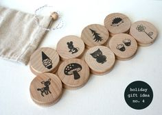 memory/matching game made out of wood, diy with stamps