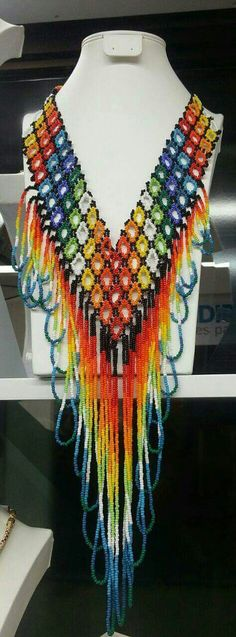 Native American Beads Bead Jewellery, Tribal Jewelry, Beaded Jewelry, Indian Necklace, Diy Necklace, Necklaces, Beading Tutorials, Beading Patterns, Collar Indio