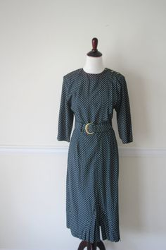 Vintage 80s 3/4 Sleeve Polka Dot Dress 1940s by vintageNsome, $28.00