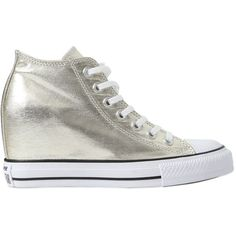 Converse Women 80mm All Star Metallic Canvas Sneakers (£120) ❤ liked on Polyvore featuring shoes, sneakers, light gold, wedge heeled shoes, metallic sneakers, metallic shoes, wedge sneakers and eyelets shoes