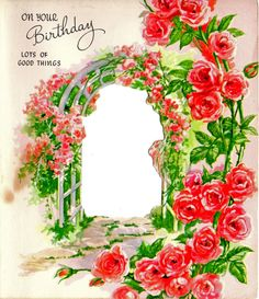 Front of a birthday card with die cut opening. Would be a great frame for something! Please use in your art.