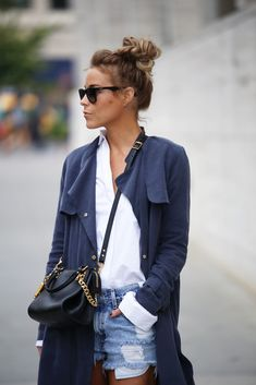 trench and cut off denim