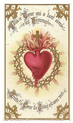 Sacred Heart of Jesus Antique French Holy Prayer Card
