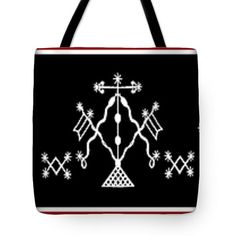 """Mysterious VooDou Veve design printed on 100% cotton throw pillow, or tote bag printed on sturdy, durable poly-poplin material.  This design is inspired by a VooDou Veve of Damballah Weddo.  It is a religious symbol commonly used in Vodou. It acts as a """"beacon"""" for the Loa, and will serve as a loa's representation during rituals.  Very simple, decorative magical design.    Black and white Veve VooDoo design - Choose same design printed on tote bag, or Throw pillow. Please see choices above…"""