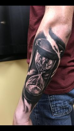 Hourglass done by Ashley McNamare at Seaport Tattoo in Boston! - Hourglass done by Ashley McNamare at Seaport Tattoo in Boston! Forearm Cover Up Tattoos, Tattoo Cover, Forarm Tattoos, Cool Chest Tattoos, Chest Tattoos For Women, Best Sleeve Tattoos, Tattoo Sleeve Designs, Arm Tattoos For Guys, Cover Up Tattoos For Men Arm