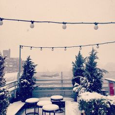 Our roof deck is looking a little different this morning. #nyc #snow