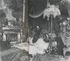 Sarah Bernhardt in her salon in Paris, Scanned from Michael and Ariane Batterberry's Fashion: The Mirror of History, Steampunk, Old Paris, Aesthetic Movement, Vintage Interiors, Romanticism, Historical Photos, Creatures, History, Pictures