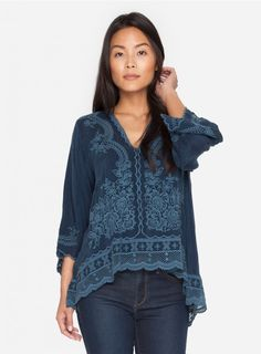Embroidered Blouse Description:  The detail on this blouse is exquisite. With a lattice lace trim all around the hemline, scalloped edging on the sleeves and a floral print embroidery design across the front, this scoop-hem rayon top could easily transition from day to night. Keep it loose, breezy and untucked on top of skinny jeans or a leather legging.  Details & Fit:  •	Rayon •	V-neck •	3/4 Sleeves •	Custom Embroidery •	Loose Fit •	Pullover Style •	Care instructions: Machine Was Cold, No…