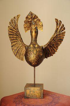 """Gourd,wood,acrylic paint, texture paint. A mythical bird """"Alkonost"""""""