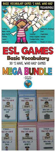 """ESL - ELL Your ESL /ELL students will revise/learn essential English words with the help of these vocabulary games. This mega bundle includes 30 """"I have, who has?"""" sets:   In the Classroom- Animals- Basic Verbs - Body Parts-Bugs-Household Chores-Clothes-Colors-Countries-Daily Routines -Emotions, etc #esl, #basicvocabulary, #vocabulary, #basicvocabulary, #tpt, #newcomers"""