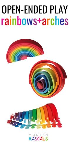 Our colorful rainbows, arches and tunnels provide a colorful twist to traditional block play. Children love the bright colors of these wooden non-toxic kids toys. They are great for open ended play and they provide an excellent introduction to STEM concepts plus they promote the development of fine motor skills. Lots of great things about these toys but most of all they are so much fun! Grimm's Toys, Baby Toys, Toys For Girls, Kids Toys, Block Play, Montessori Toys, Creative Play, Child Love, Imaginative Play