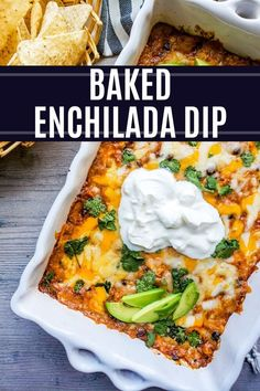 The BEST easy Baked Chicken Enchilada Dip! This dip is cheesy and filled with flavor and perfect for parties, game days or a holiday appetizer! Easy Appetizer Recipes, Healthy Appetizers, Dip Recipes, Appetizers For Party, Mexican Food Recipes, Ethnic Recipes, Freezer Recipes, Delicious Recipes, Vegan Recipes