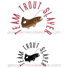 Logo design for Marc Thompson & Team Trout Slayer's fishing tours & competitions. Fish Logo, Bass Fishing, Trout, Logo Design, Signs, Ideas, Brown Trout, Shop Signs, Thoughts