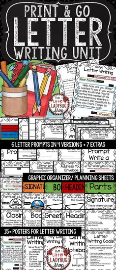Letter Writing Unit created to assist in teaching this writing skill. It contains components from my lessons and activities I use to teach my students. All you have to do is print and GO with this mini unit to assist you in teaching about Letter Writing!