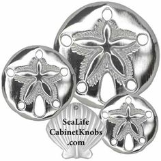 Sand Dollar Cabinet Knobs   Cast in fine pewter, custom finishes, Several size options, and additional configurations.