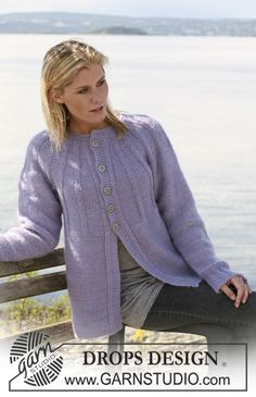 """DROPS 108-46 - DROPS jacket with round yoke in """"Alpaca"""" and """"Vivaldi"""". Size S – XXXL. - Free pattern by DROPS Design"""