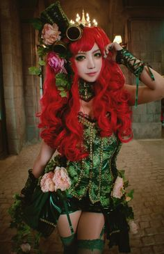 Poison Ivy by AnKyeol - looks like the chandelier behind her is actually either an LED tiara, or her wig is on fire. Chandelier photobomb!