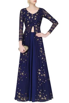 Navy front open embroidered jacket and lehenga set available only at Pernia's Pop Up Shop.