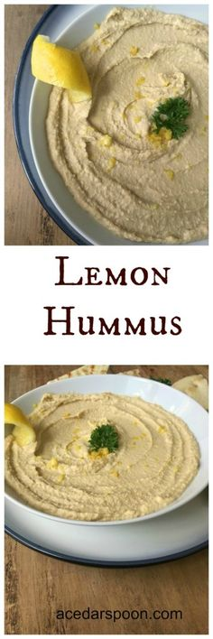 Lemon Hummus: light and lemon hummus is perfect for dipping or spreading on sandwiches or wraps // A Cedar Spoon