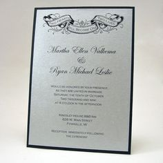 Tattoo Banner Wedding Invitation by mybluetulipdesign on Etsy, $3.50