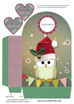 Owl I Want for Christmas Large Gift Bag on Craftsuprint designed by Janet Roberts - This gift bag goes with my 'Owl I Want for Christmas' mini kit ...... please see the link below - Now available for download!