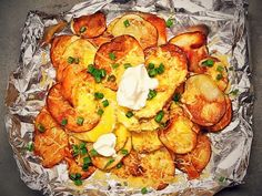 RECIPE: Slice potatoes into 1/8 inch slices. Lay out on a baking sheet and coat with olive oil and salt. Bake at 425 for 15-20 minutes until golden and crisp...
