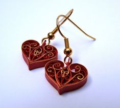 Valentines quilled paper earrings by VBPureDesigns on Etsy