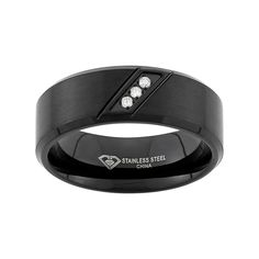 Diamond Accent Black Ion-Plated Stainless Steel Wedding Band - Men, Size: 10.50
