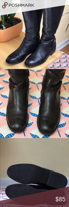 Cole Haan | over-the-knee boots | black leather Gorgeous Valentia black leather boots by Cole Haan. They go up to, or over the knee, with a back slit for comfort and mobility. Buckle by the outer ankle, with a zipper on the inner side. Can also be folded down. Sturdy, professional and sexy. Versatile - can be worn with jeans, leggings, tights. Worn once for a few hours - love them but they are a tad small on me (I wear an 8-8.5). Size 8. Cole Haan Shoes Over the Knee Boots
