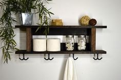Rustic Modern 2 Tier Bathroom Shelf Towel by RusticModernDecor