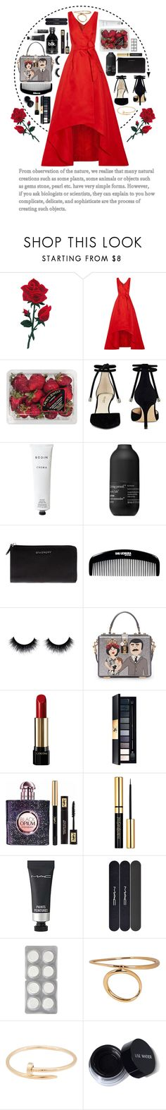 """""""strawberries"""" by valoverhere ❤ liked on Polyvore featuring Oscar de la Renta, FRUIT, Nine West, Rodin Olio Lusso, Living Proof, Givenchy, shu uemura, Dolce&Gabbana, Lancôme and Yves Saint Laurent"""