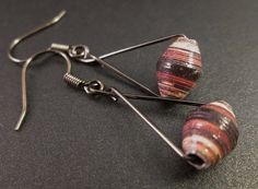 Small Variegated Brown Paper Beads on Wire Triangles Earrings