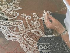 embroidery on net. Tambour Embroidery, Couture Embroidery, Indian Embroidery, Floral Embroidery, Embroidery Stitches, Hand Embroidery, Bobbin Lace Patterns, Lacemaking, Point Lace