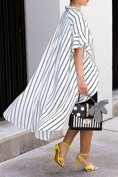 Stripes Button Up Dip Hem Blouse Half Sleeve Women, Half Sleeves, Older Women Fashion, Womens Fashion, Cheap Fashion, Affordable Fashion, Ladies Dress Design, Fashion Boutique, Lady