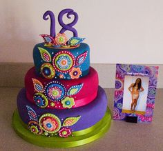 Birthday Cakes - 18th birthday cake based on the invitation