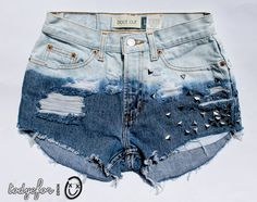 bleached ombre / vintage denim / triangle studs on back and front & destroyed / midrise shorts
