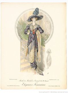 From Élégances féminines. Revue mensuelle de la grande couture parisienne 1912. Dress by Martial et Armand
