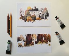House with garden and trees: 2 diffrent DIN Prints by Iraville - Ira Sluyterman van Langeweyde Zentangle, Doodle Drawing, Wave Art, Beauty Art, Watercolor Landscape, Art Reference, Illustrators, Art Drawings, Illustration Art
