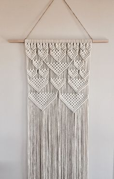 Large Macrame Wall Hanging Geometric Triangles Cotton
