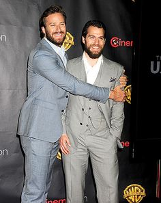 Armie Hammer hugged Henry Cavill at the Warner Bros. CinemaCon event, held at The Colosseum at Caesars Palace in Las Vegas April 21.
